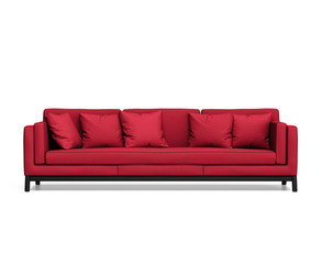 Isolated contemporary red sofa with cushions