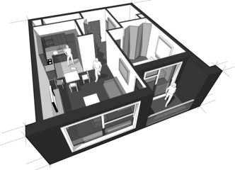 Perspective cut-away diagram of a 1-bedroom apartment