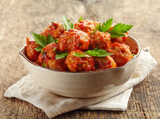 Meatballs with tomato sauce in a bowl