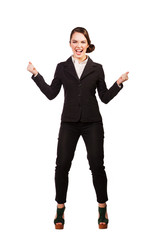 happy businesswoman with arms up