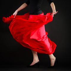 Dance. Red skirt on girl dancer dancing flamenco