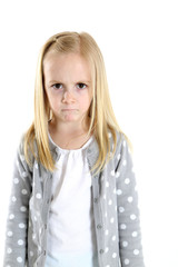 blond girl with a sad hurt frustrated angry frowning expression