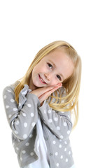 cute girl with innocent gesture hands folded