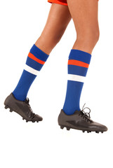 white background of soccer football legs knee socks and shoes or