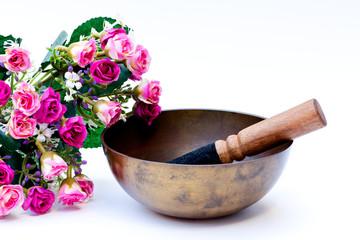 Tibetan bowl with pink roses
