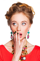 beautiful  woman with jewelry surprised Isolated