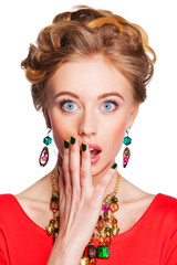 young  woman with jewelry surprised Isolated