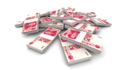 Falling 100 Chinese Yuan (CNY) Packs - Realistic