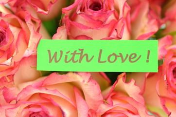 życzenia miłości na tle przepięknych róż