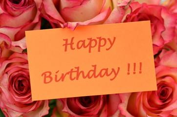 życzenia urodzinowe na tle przepięknych róż