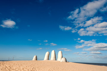 Hand Sculpture, the symbol of Punta del Este, Uruguay
