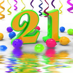 Number Twenty One Party Displays Colourful Balloons Garlands And