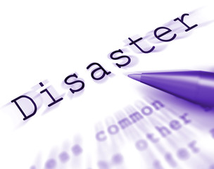 Disaster Word Displays Emergency Calamity And Crisis