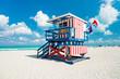 Leinwanddruck Bild - Lifeguard hut in South Beach, Miami