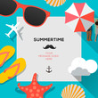 Summertime beach traveling template - 65646070