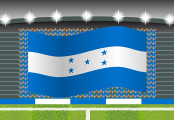 Honduras football fan cheering on stadium with flag