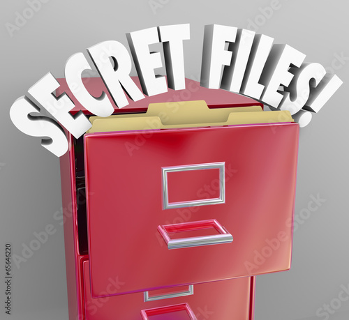 Secret Files Filing Cabinet 3d Words Confidential Classified Inf