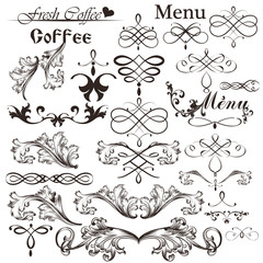 Set of calligraphic vector decorative elements in vintage style