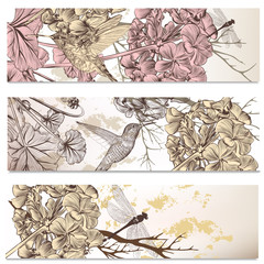 Vector set of floral backgrounds with birds and flowers