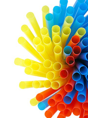 colorful drinking straws isolated on white background