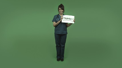 indian female doctor isolated on greenscreen with thanks sign