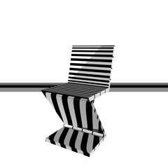 sedia bianca e nera