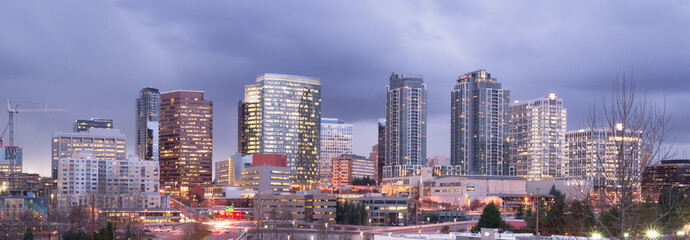Bright Lights City Skyline Downtown Bellevue Washington USA