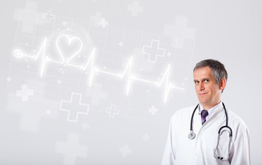 Doctor examinates heartbeat with abstract heart