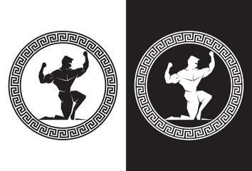 Hercules inside a Greek Key front view