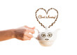 Coffee pot with coffee beans shaped heart with good morning sign