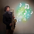 Young musician playing on saxophone while musical notes explodin