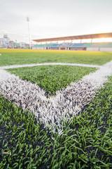 Artificial turf soccer field, a corner marker line