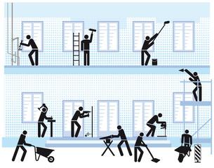 Handwerker und Haus