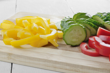 Fresh vegetable slices for salad