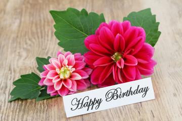 Happy Birthday card with pink dahlia