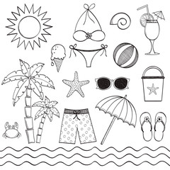 Hand drawn beach set