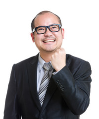 Balding cheerful mature businessman