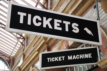 Tickets sign, Moore Street Railway Station, Birmingham.
