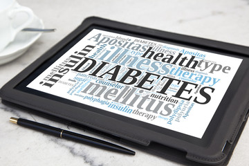 Tablet with diabetes word cloud