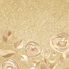 Vintage frame with rose on paper polka dot. EPS 8