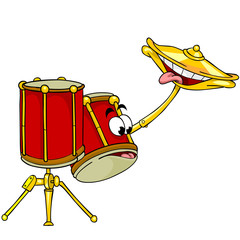 cartoon two drums, cymbals smile show language