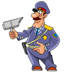 cartoon Russian policeman with radar