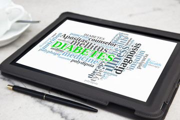 Tablet with diabetes word cloud