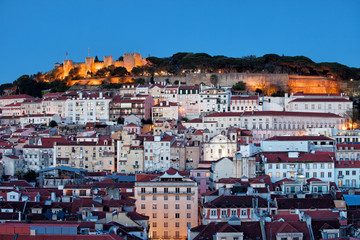 City of Lisbon at Dusk in Portugal