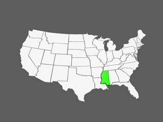 Three-dimensional map of Mississippi. USA.