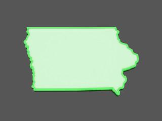 Three-dimensional map of Iowa. USA.