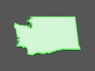 Three-dimensional map of Washington. USA.