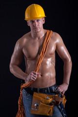 Portrait of a muscular man, naturally built man