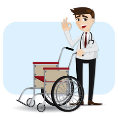 cartoon doctor with wheelchair