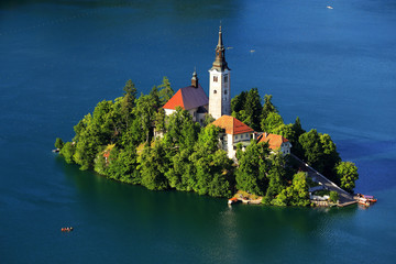 Bled Lake with the Assumption of Mary Church, Slovenia, Europe